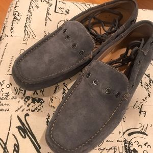Rockport gray leather/suede slip-on shoes